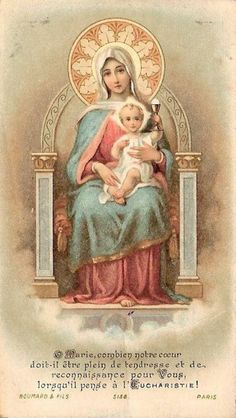 """The Five """"Ave Maria"""" before Holy Communion Religious Pictures, Jesus Pictures, Religious Icons, Religious Art, Jesus Mother, Blessed Mother Mary, Blessed Virgin Mary, Jesus E Maria, Vintage Holy Cards"""