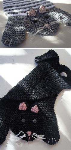 Knitting Pattern for Fat Cat Mat - Garter stitch cat-shaped rug is designed for cats to nap on but can be knit human-sized as well for rug or blanket. Designed by Cheryl Patzer.