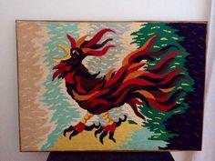 """""""L'oiseau De Feu"""" Tableau canevas (Motif de Jean Lurçat typique des années 1970)"""