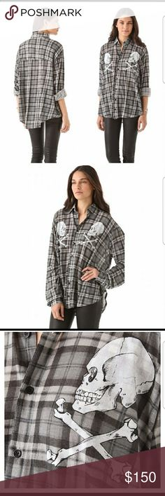 Wildfox Seattle Skull Plaid Hi Lo Shirt S Excellent Pre-owned Condition Wildfox A real hard to find gem Seattle Hi Lo Plaid Shirt  Beautiful Skull Graphics on Chest Button Down look Flannel feel- so soft Size Small, but can fit XS, through Petite M, depending on the fit you like Excellent with jeans, skinnies, leggings, boots, flats 27 inches with Hi Lo style Please feel free to ask away Minor distressed holes but add to the look of the shirt if you can notice it! I never wore, trying to…