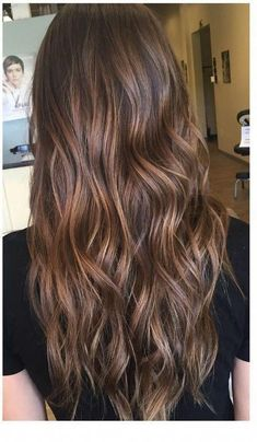 Long Wavy Ash-Brown Balayage - 20 Light Brown Hair Color Ideas for Your New Look - The Trending Hairstyle Brunette Hair Color With Highlights, Brown Hair Balayage, Ombre Hair, Caramel Hair Highlights, Brunette Hair Chocolate Caramel Balayage, Fall Highlights, Honey Balayage, Brunette Color, Hair Color Caramel