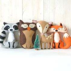 This listing is for four felt woodland forest stuffed animal hand sewing patterns: a fox a deer an owl and a. This listing is for four felt woodland forest stuffed animal hand sewing patterns: a fox a deer an owl and a raccoon. Plushie Patterns, Animal Sewing Patterns, Softie Pattern, Stuffed Animal Patterns, Pattern Sewing, Doll Patterns, Sewing Toys, Sewing Crafts, Sewing Projects