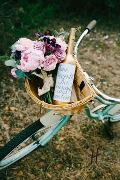 Wedding, Save the Date with vintage bike, bouquet, and painted gold wine bottle  www.havifrost.com