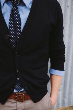 I honestly love everything about this •the tie is so cute •the blazer doesn't look to big •the blue collared under •how it folds at the sleeves •khakis