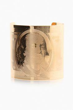 LoveMelrose.com From Harry & Molly | 100 Dollar Print Bracelet Cuff - Gold