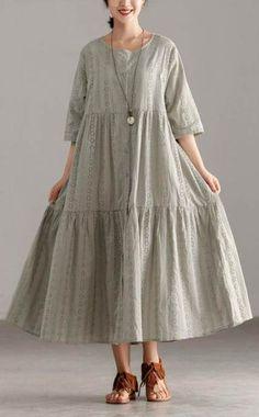 stylish cotton sundress oversize Casual Short Sleeve Gray Hollow Pleated Dress – Linen Dresses For Women Dresses Elegant, Stylish Dresses, Casual Dresses, Short Dresses, Fashion Dresses, Summer Dresses, Loose Dresses, Sun Dresses, Linen Dresses