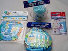 1st Birthday Boy Banner Blowouts Sippy Cup Card Cut Out Bunting 4 Piece Set