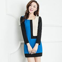 Moda Mujer delgada Primavera Contraste Color del vestido – USD $ 25.89