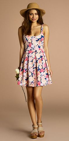 Lose those wedges. Maybe a different hat. But the dress is adorable :)