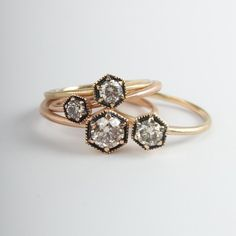 Diamond Hexagon Rings