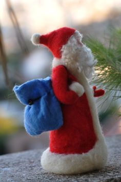 Items similar to Needle felted Waldorf Santa Claus- standing doll-soft sculpture -For custom orders on Etsy Needle Felted Ornaments, Felt Ornaments, Handmade Christmas Decorations, Felt Decorations, Wet Felting, Needle Felting, Felt Crafts, Christmas Crafts, Hedgehog Craft