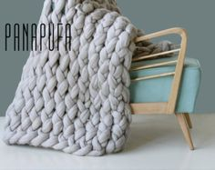 Chunky knit throw chunky wool blanket giant knit by PANAPUFA