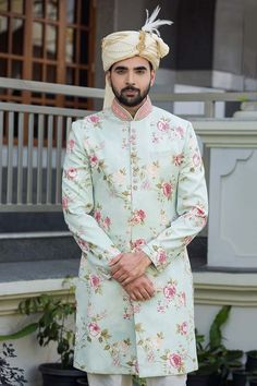 Wedding Function Outfits Inspiration for groom. Heavy floral embroidery or a minimal floral print sherwani for wedding outfit. Indian Groom Dress, Wedding Dresses Men Indian, Wedding Dress Men, Indian Weddings, Wedding Couples, Wedding Men, Wedding Groom, Wedding Ideas, Wedding Suits