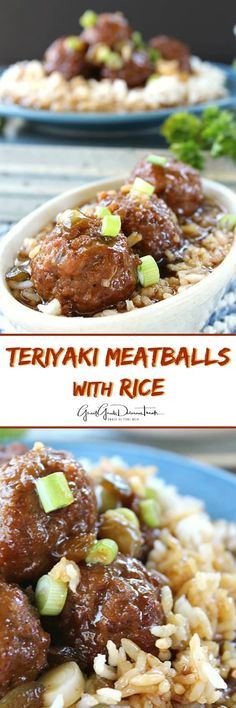 Teriyaki Meatballs with Rice -A delicious, flavorful meal that can be made in about 30 minutes. Quick and easy for those busy weeknights that all will love! Beef Recipes For Dinner, Meat Recipes, Asian Recipes, Crockpot Recipes, Cooking Recipes, Meatball Recipes, Casserole Recipes, Yummy Recipes, Kitchens