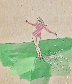 surfer girls illustration - Google Search