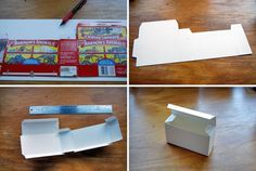 Clever: make your own box by using an animal cracker box as a template.