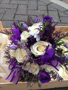 pretty in that it is dynamic with different textures of flowers but am not in love with the exact colors and don't like the ribbons Purple Wedding Flowers, Flower Bouquet Wedding, Wedding Colors, Wedding Prep, Our Wedding, Wedding Stuff, Cadbury Purple Wedding, Easter Wedding Ideas, Family Flowers