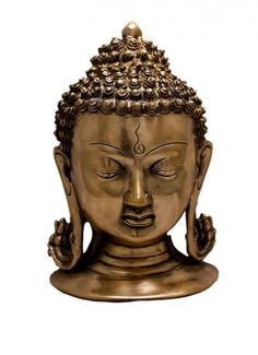 Buy Indian Religious Two Tone Lord Buddha Head Brass Idol Sculpture Wall Hanging 8.2 Online - Brass Statues & Collectibles