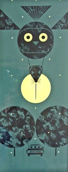 Owl with Mouse. Charley Harper?
