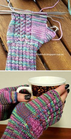 Cabled Fingerless Mittens – Free Pattern – Awesome Knitting Ideas and Newest Knitting Models Knitted Mittens Pattern, Knit Mittens, Knitting Patterns Free, Free Knitting, Knitting Socks, Free Pattern, Crochet Patterns, Knitting For Kids, Double Knitting