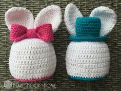 "Crocheted ""boy"" and ""girl"" Bunny Hats"