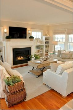 Decorate Your Living Room With These 14 Inspiring Wall Elegant Modern Living Room Design and Decor Beautiful Farmhouse Living Room Decor [. Coastal Living Rooms, Elegant Living Room, Small Living Rooms, Living Room Modern, Living Room Interior, Home Living Room, Small Living Room Layout, Cottage Living Room Small, Living Area