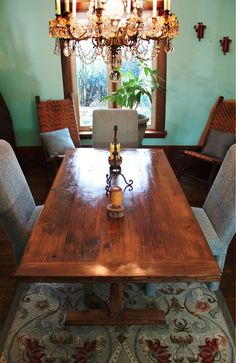 Salvaged Barn Wood Trestle Table like the rug and love,love the shine on the table
