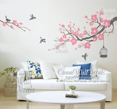 cherry blossom wall decal birds wall decals flower vinyl wall decals birdcage wall mural birds wall sticker nursery- flower tree Z157 cuma. $55.00, via Etsy.
