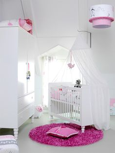 Lush pink #baby girl #nursery #white... this is so pretty! LOVEEE