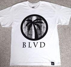 new BLVD® T-SHIRT Black&White Big-Logo Palm Tree 100%Cotton MEN LRG Made-In-USA #BLVD #GraphicTee