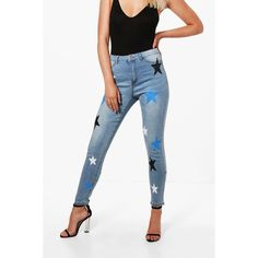 Boohoo Avah Cosmic Print High Rise Skinny Jeans ($28) ❤ liked on Polyvore featuring jeans, high waisted skinny jeans, white skinny jeans, white ripped skinny jeans, high waisted white skinny jeans and white high-waisted jeans