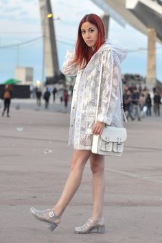 white rain Topshop coat - silver jellies JuJu shoes - white satchel H&M bag