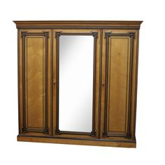313 | IMPRESSIVE LATE VICTORIAN INLAID PITCH PINE WARDROBE  of rectangular form with an inlaid cornice resting on a large central mirror door flanked by a pair of panel doors, all raised on a plinth base, the entire decorated in ebon inlays, 221 cm wide Pine Wardrobe, Cornice, Mirror Door, Panel Doors, Pitch, Swan, Irish, Auction, Victorian