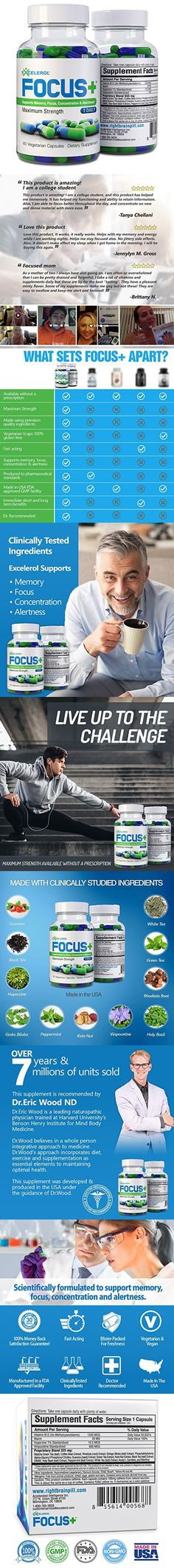 FOCUS+ Brain Supplement And Memory Support Pill (120 Capsules)
