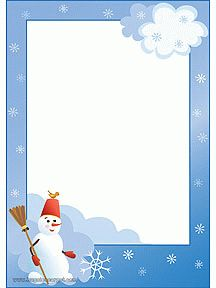 Papier à lettre avec un bonhomme de neige qui tient son balai, à imprimer