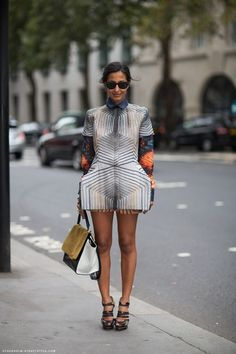 """Nausheen Shah, New York Post ~ this outfit reminds me of Sheldon's halloween costume, the """"Doppler Effect"""".  She's very brave to wear this because it's actually very suggestive."""