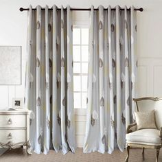 Anady Top White/Brown/Yellow Leaf Curtains 2 Panels Soft Grey Curtains Drapes for Living Room Grommet 84 inch Long Leaf Curtains, Privacy Curtains, Brown Curtains, Yellow Curtains, Grommet Curtains, Panel Curtains, Blackout Curtains, Living Room Bedroom, Rugs In Living Room