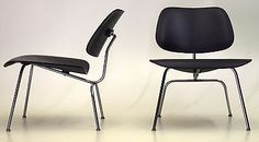 April 1952 Pair Eames LCM by Herman Miller in Black Lacquer and Chrome vintage