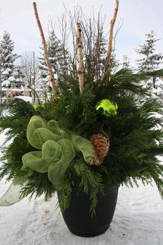 Christmas Decorations - New Outdoor Christmas Decoration Best Outdoor Christmas Decorations, Outdoor Christmas Planters, Christmas Urns, Christmas Greenery, Christmas Arrangements, Outdoor Planters, Christmas Centerpieces, Rustic Christmas, Xmas Decorations