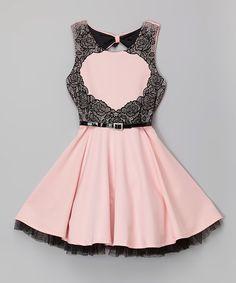 Look at this #zulilyfind! Blush & Black Lace Belted Dress - Girls by Beautees #zulilyfinds