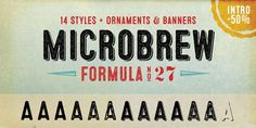 Typography Showcase Font of the day: Microbrew Microbrew by Jay Hilgert  Microbrew is a retro display font family, which consists of 14 individual styles. Available from My Fonts, it's described as being 'a nice mix between wood type poster style, and vintage letterpress'.  Microbrew is available to purchase from My Fonts.
