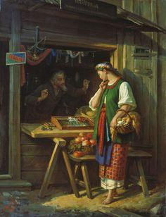 Грибков Сергей Иванович (1822-1893) - русский живописец, иконописец. В лавке. 1882.