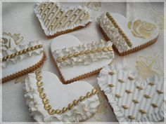Gold and white cookies by Sveta