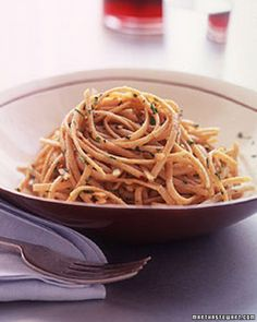 Whole-Wheat Pasta with Garlic and Olive Oil .. Leonardo brings you the best of both, whole-wheat spaghetti and of course healthy olive oil!