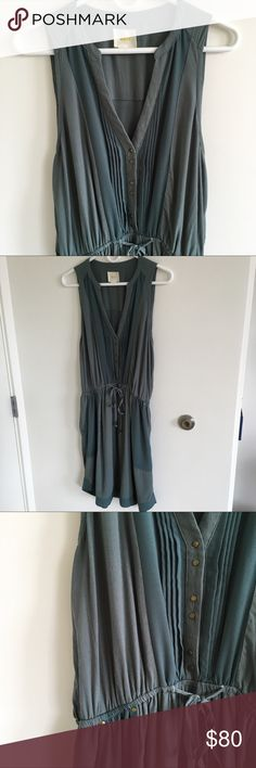 Maeve Anthropologie Summer Dress with Pockets! Light and breezy sage green spring dress. Sleeveless, v-neck, tie at waist, brass buttons and details, pockets at waist, semi-sheer panel in the back. Great for layering and travel. Great condition. Anthropologie Dresses