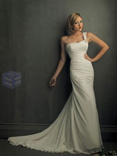 A-line Chiffon Delicately Pleated Bodice One-Shouldered Neckline Sweep Train Wedding Dresses