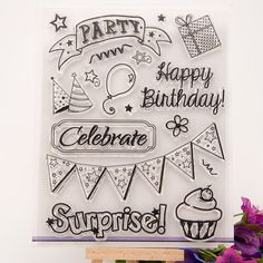 """celebrate Happy birthday"" Scrapbook DIY photo Album paper cards clear stamp transparent stamp for christmas gift RZ-041"