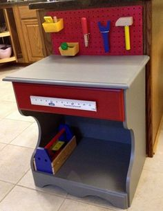 Upcycled Night Stand   Upcycled child's tool bench from an old night stand