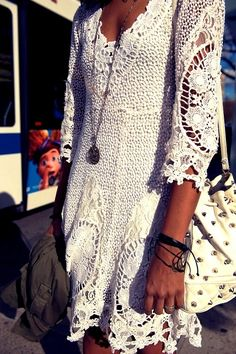 3/4 Sleeevs Boho Lace Dress