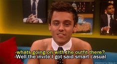Tom Daley wearing nothing but a collar and tie, shoes and a pair of speedos on the Jonathan Ross Show The Jonathan Ross Show, Tom Daley, Literally Me, Me Tv, Image Sharing, Tumblr Funny, Future Husband, Toms, Dance